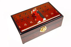 Chinese lacquerware jewelry box. On white Royalty Free Stock Image