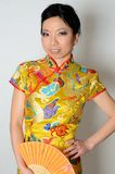 Chinese lady with fan Stock Images