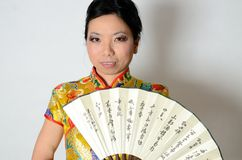 Chinese lady with fan Stock Photos