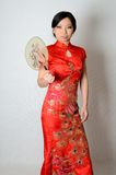 Chinese lady with fan Royalty Free Stock Image