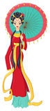 Chinese lady in traditional dress holding umbrella. Vector illustration. Royalty Free Stock Photo