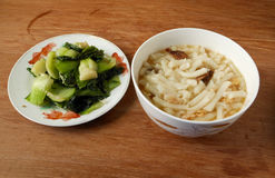 Chinese  Lai fun noodles and fried bok choy simple lunch Royalty Free Stock Photo
