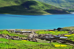 Chinese lakes in Tibet. Here is located in Tibet Chinese Yamdrok yumtso Lake Stock Image