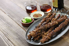 Chinese lamb skewers, yang rou chuan. Chinese spicy cumin lamb skewers, yang rou chuan Stock Photos