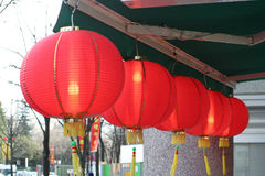 Chinese lamp. Chinese lanterns hanging in front of a shop Royalty Free Stock Photo
