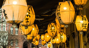Chinese lamps on a restaurant Royalty Free Stock Images