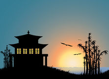 Chinese landscape. Illustration of the sunset with chinese house and bamboo royalty free illustration