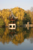 Chinese Landscape. Pagoda and willows near Xihu Lake in Hangzhou, China Royalty Free Stock Images