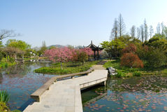Chinese Landscape. Typical Chinese-style garden scenery including water pools, tortuous bridge, gloriette, aquatic plants, flowers, grass, trees and so on Royalty Free Stock Photos