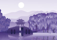 Chinese landscape with a ancient bridge. Night landscape with a Chinese ancient  bridge on the background of the mountains and the lunar sky Stock Image