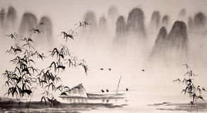 Chinese landscape ink painting Royalty Free Stock Photos