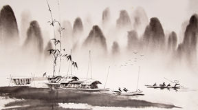 Chinese landscape ink painting Stock Photo