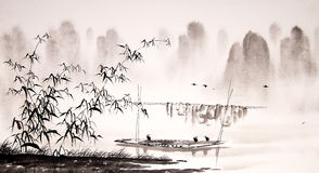 Chinese landscape ink painting Royalty Free Stock Photo