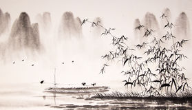 Chinese landscape ink painting Stock Image