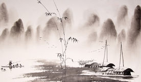 Chinese landscape ink painting. 