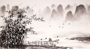 Chinese landscape ink painting Stock Photography