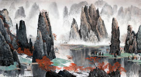 Chinese Landscape Of Mountains And Water Stock Images