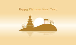 Chinese landscape with pavilion silhouettes. Vector art Royalty Free Stock Photos