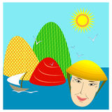 Chinese landscape with sea, hills, sailing and smiling old Chinese man. Bright vector illustration of chinese landscape with the sun shining, white birds, multi Royalty Free Stock Photos