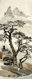 Chinese landscape with a tree. Chinese landscape with tree and house stock images