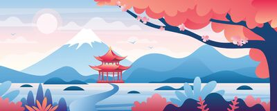 Free Chinese Landscape Vector Illustration, Cartoon Asian Traditional Temple, Pavilion Or House With Oriental Pagoda In Rural Stock Photos - 180938833