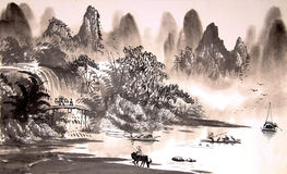 Chinese landscape watercolor painting Stock Photography