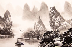 Chinese landscape watercolor painting Royalty Free Stock Image