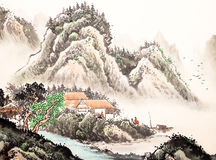 Chinese landscape watercolor painting Stock Image