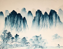 Chinese landscape watercolor painting Stock Photos