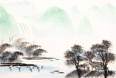 Chinese landscape watercolor painting royalty free illustration