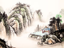 Chinese landscape watercolor painting Royalty Free Stock Photos