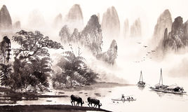 Chinese landscape watercolor painting Royalty Free Stock Images