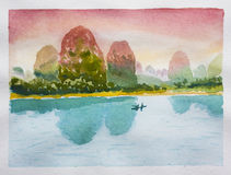 Chinese landscape. Watercolor. Silent mountains, sunset sky and calm river Stock Illustration
