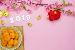 Table top view Lunar New Year & Chinese New Year 2019. Chinese language mean rich or wealthy and happy.Table top view Lunar New Year & Chinese New Year 2019 stock photography