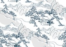 Chinese lanscape japanese vector pattern oriental mountais seamless vector illustration