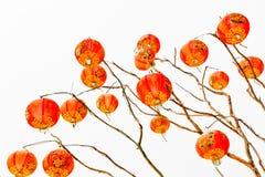 Chinese lantaarn op een witte achtergrond Stock Afbeeldingen
