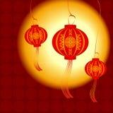 Chinese lantaarn, vectorillustratie Stock Afbeelding