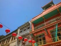 Chinese Lantaarns die in de Chinatown van San Francisco, Californië hangen stock fotografie