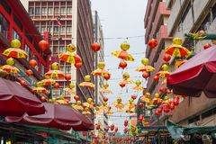 Chinese lantaarns op Petaling-Straat in Kuala Lumpur, Maleisië Royalty-vrije Stock Fotografie