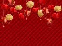 Chinese lantaarns op traditioneel oosters patroon stock foto's