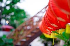Chinese Lantaarns Selecteer nadruk, sluit omhoog, flakker royalty-vrije stock foto's