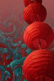 Chinese lantern. Stacked red chinese lanterns on an oriental background Stock Image