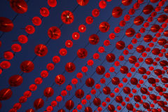Chinese lantern. Chinese red lanterns hanging against a blue sky royalty free stock photos