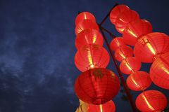 Chinese lantern. Close shot of red coloured Chinese lantern at night Royalty Free Stock Image
