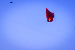 Chinese lantern against blue sky and kites in jaipur Stock Photo