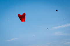 Chinese lantern against blue sky and kites in jaipur Royalty Free Stock Photography