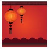 Chinese Lantern Background - Illustration. Chinese lantern in Gray curtain Royalty Free Stock Image