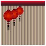 Chinese Lantern Background - Illustration. Chinese lantern in Gray curtain Royalty Free Stock Photo
