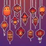 Chinese lantern background. Vector chinese lantern template backround for card Royalty Free Stock Images