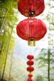Chinese lantern on bamboo background Stock Photo